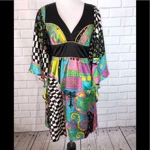 VOOM BY JOY HAN l New Retro Dress Funky Print XS